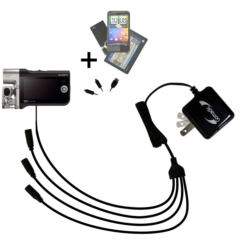 Gomadic USB Data Hot Sync Straight Cable Designed for The Sony Music Video Recorder HDR-MV1 with Charge Function Two Functions in one Unique TipExchange Enabled Cable