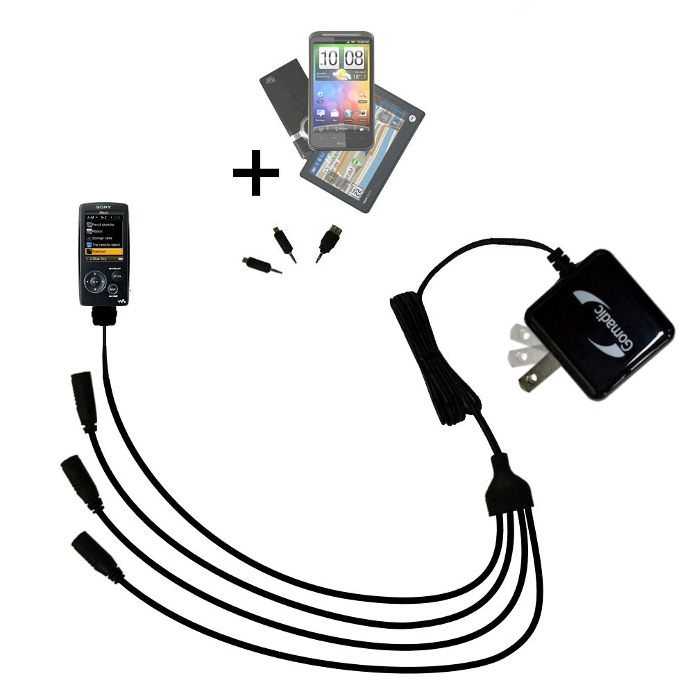 Quad output Wall Charger includes tip for the Sony Walkman NWZ-A805