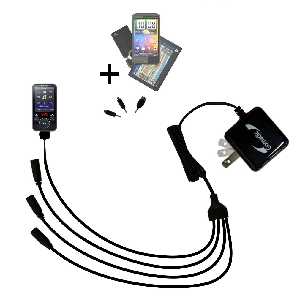 Quad output Wall Charger includes tip for the Sony Walkman NWZ-E438F