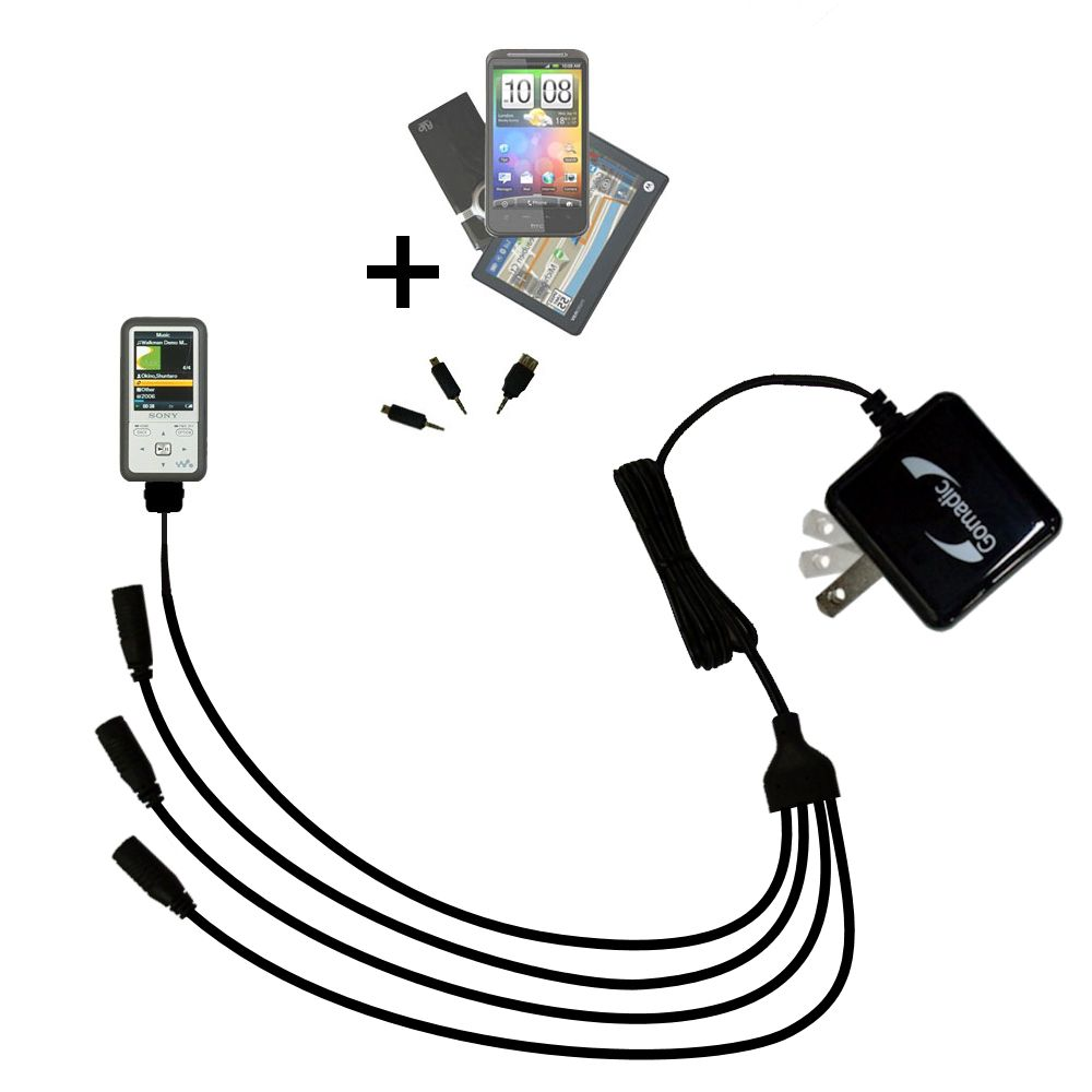 Quad output Wall Charger includes tip for the Sony Walkman NWZ-S616