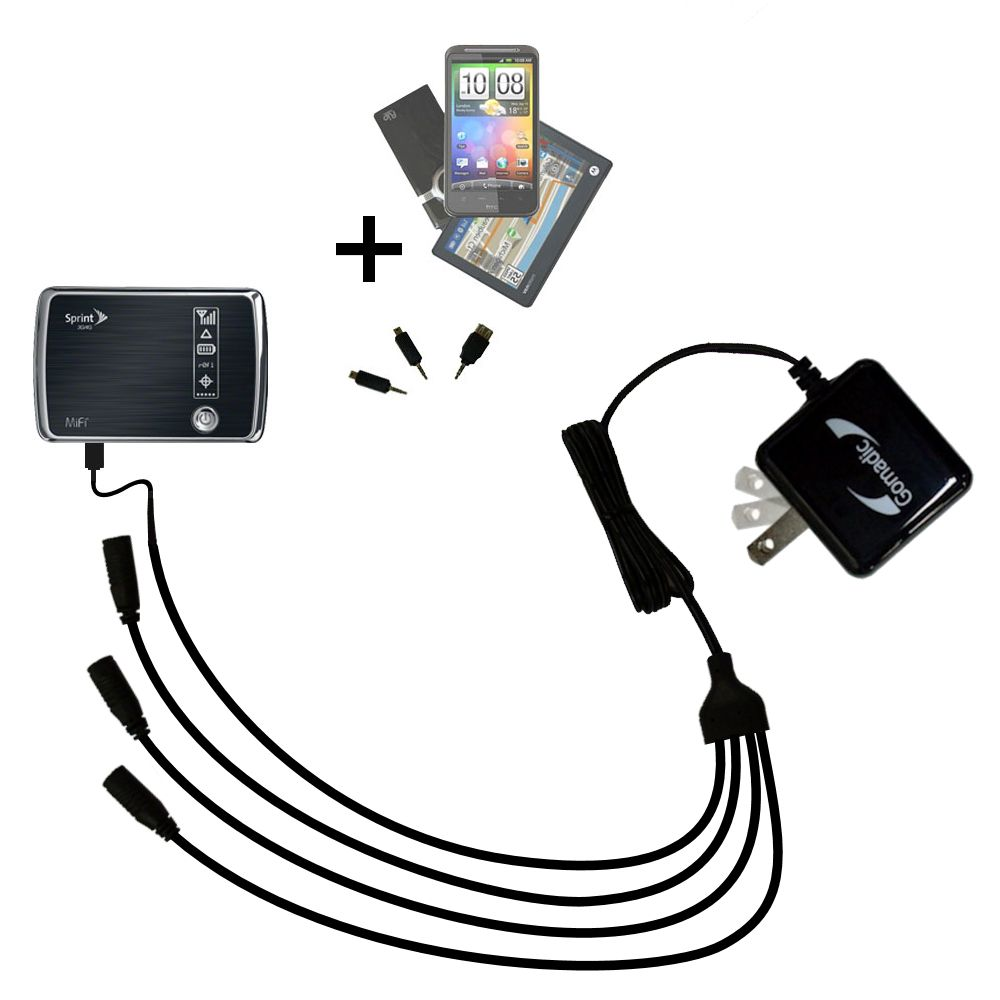 Quad output Wall Charger includes tip for the Sprint 3G/4G Mobile Hotspot