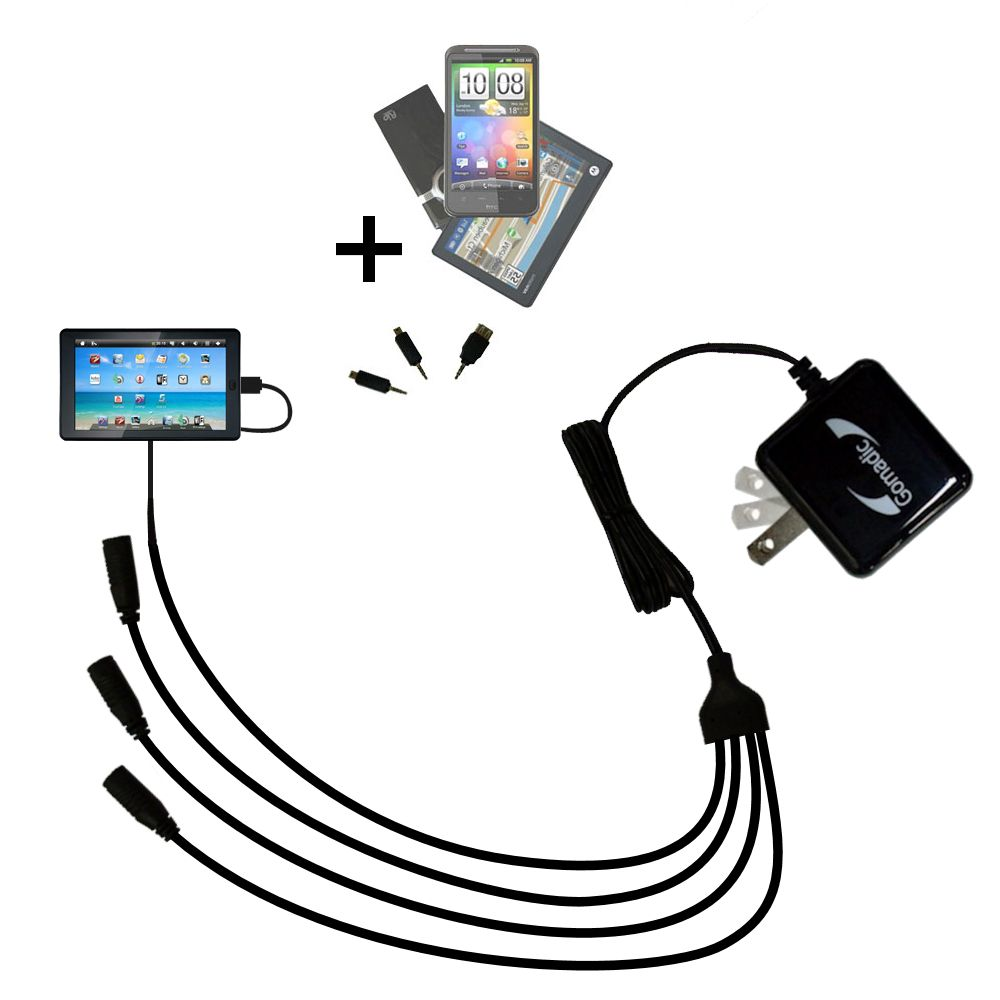 Quad output Wall Charger includes tip for the Sylvania SYTAB7MX 7 inch Tablet