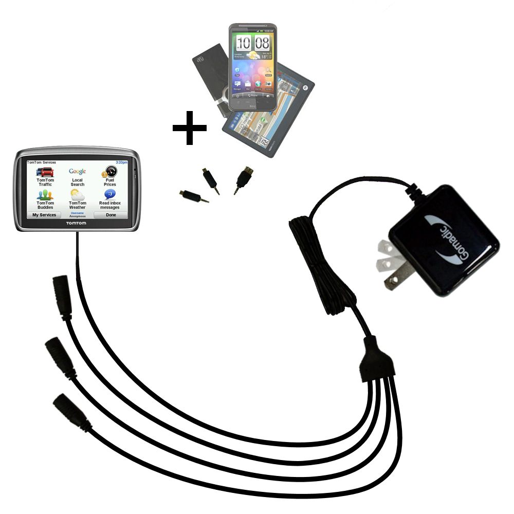 Quad output Wall Charger includes tip for the TomTom 740