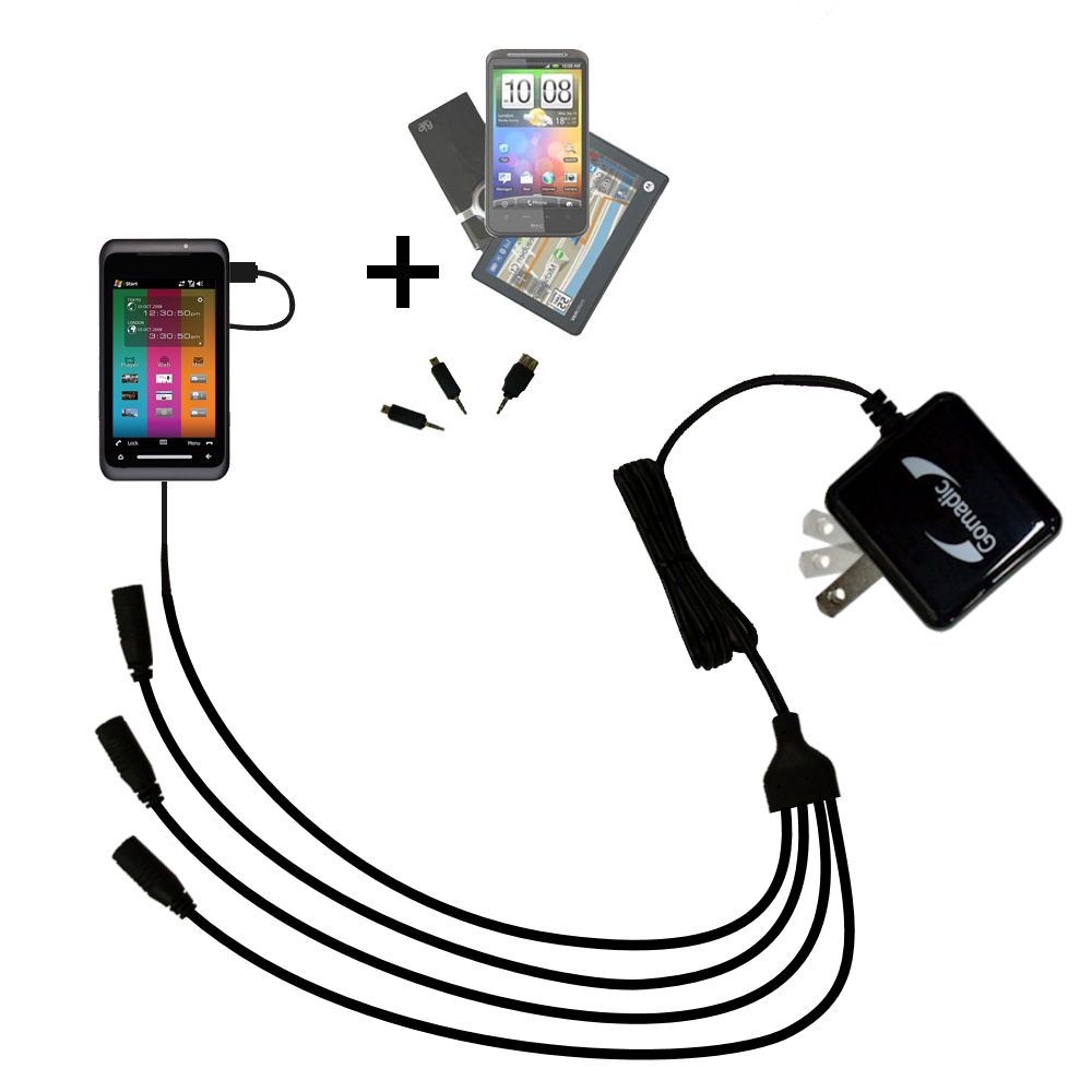 Quad output Wall Charger includes tip for the Toshiba TG01