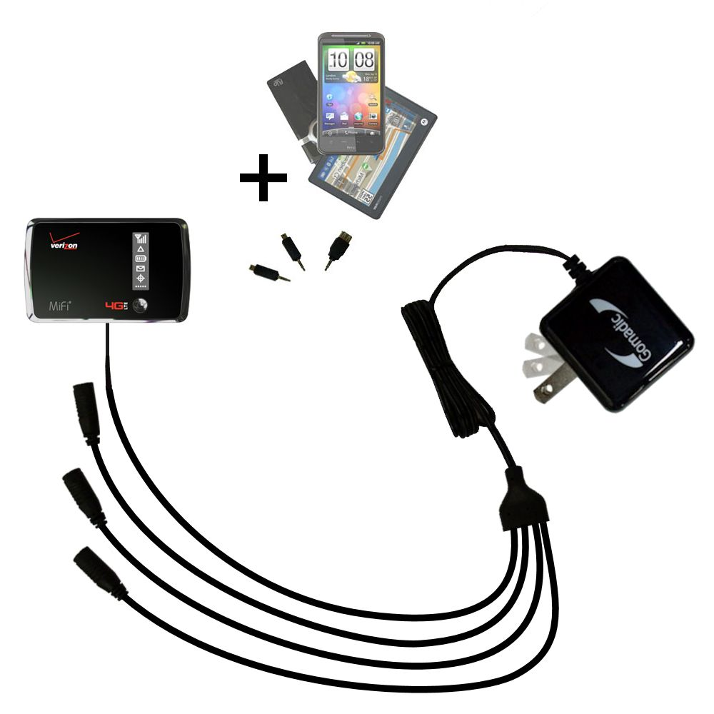 Quad output Wall Charger includes tip for the Verizon 4G LTE MIFI 4510L