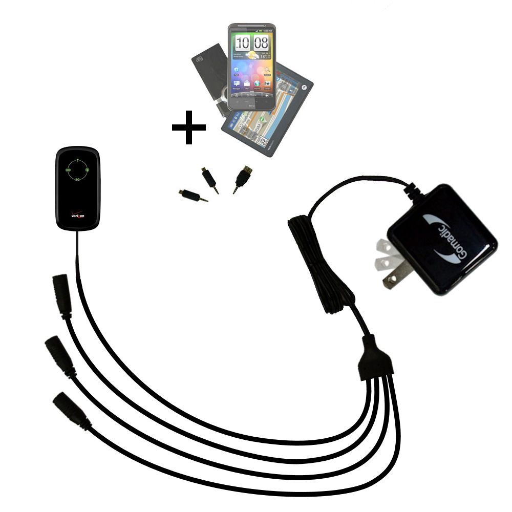 Quad output Wall Charger includes tip for the Verizon Fivespot 3G Mobile Hotspot