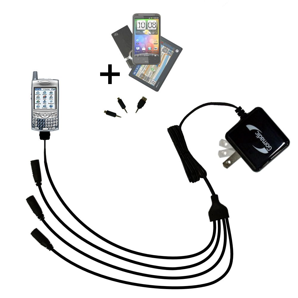 Quad output Wall Charger includes tip for the Verizon Treo 650