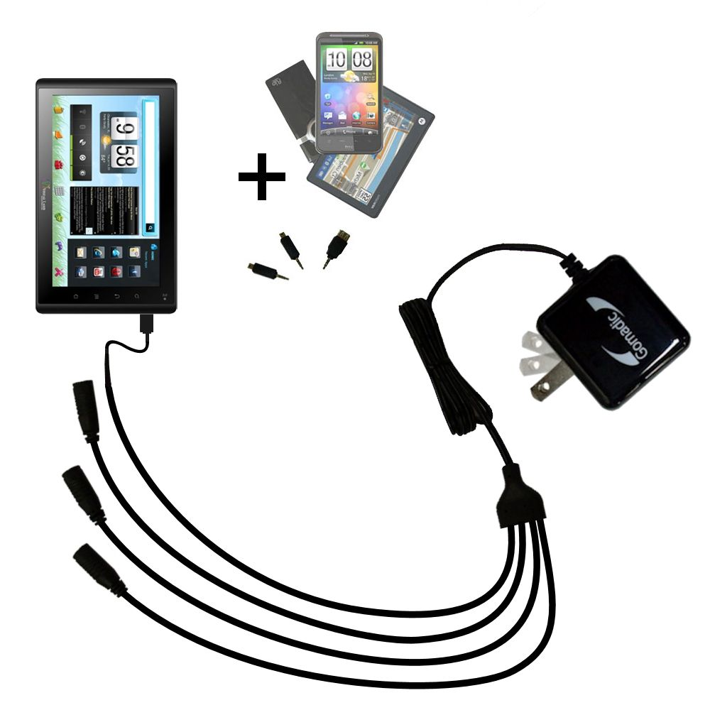 Quad output Wall Charger includes tip for the VisualLand Connect 7