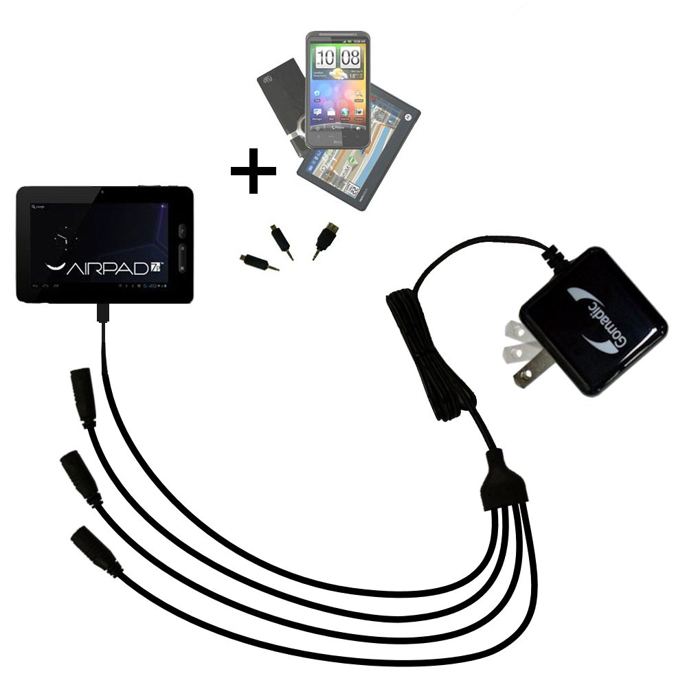 Quad output Wall Charger includes tip for the X10 Airpad 7P