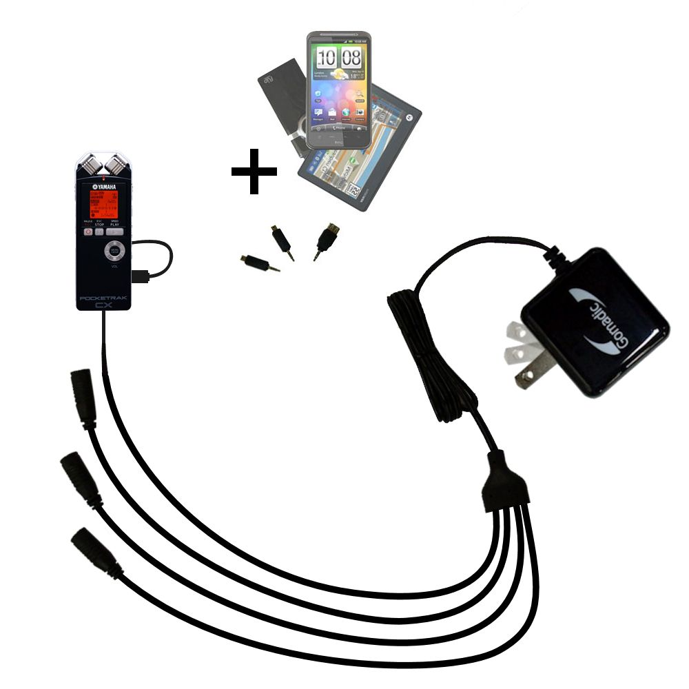 Quad output Wall Charger includes tip for the Yamaha Pocketrak CX