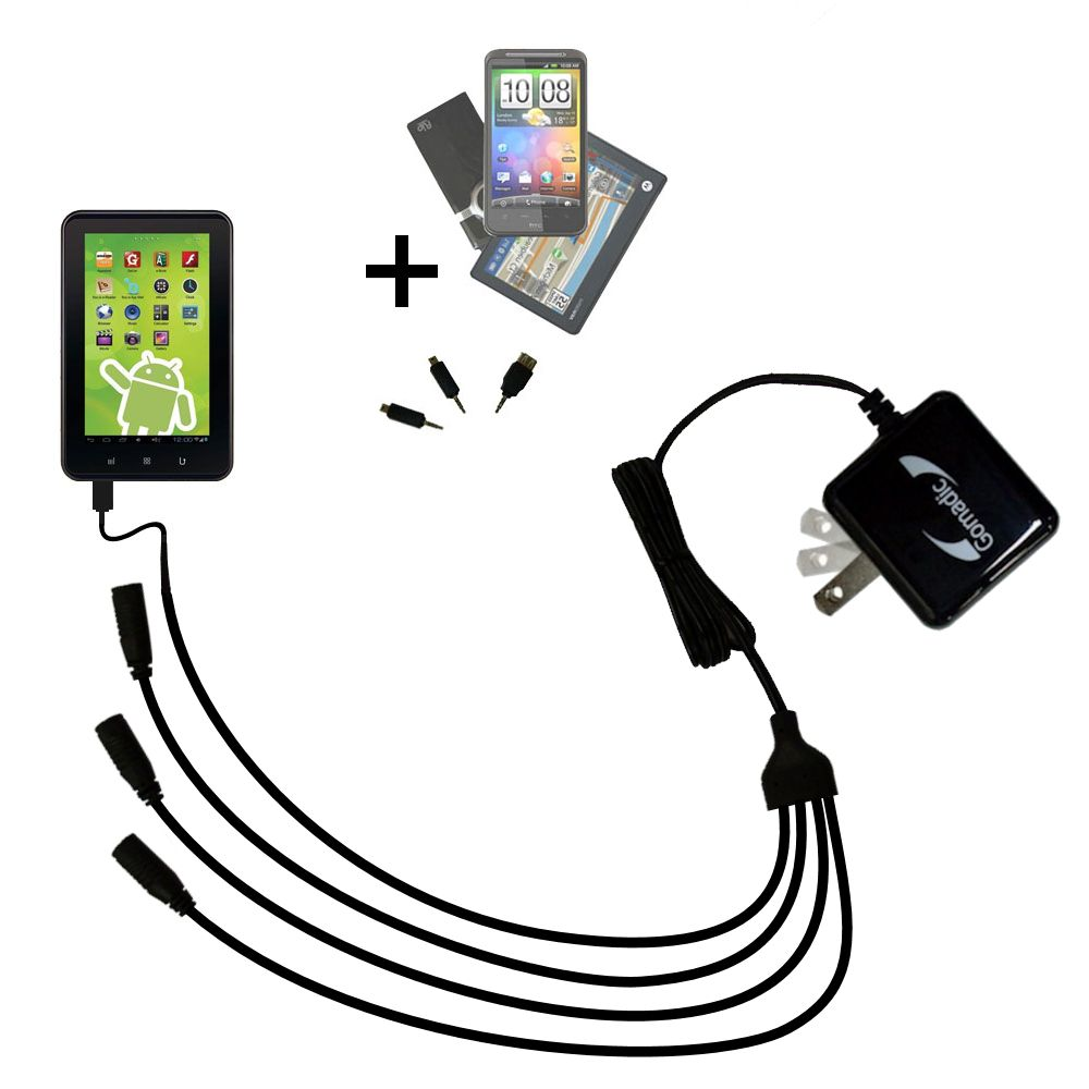 Quad output Wall Charger includes tip for the Zeki 7 Tablet TB782B