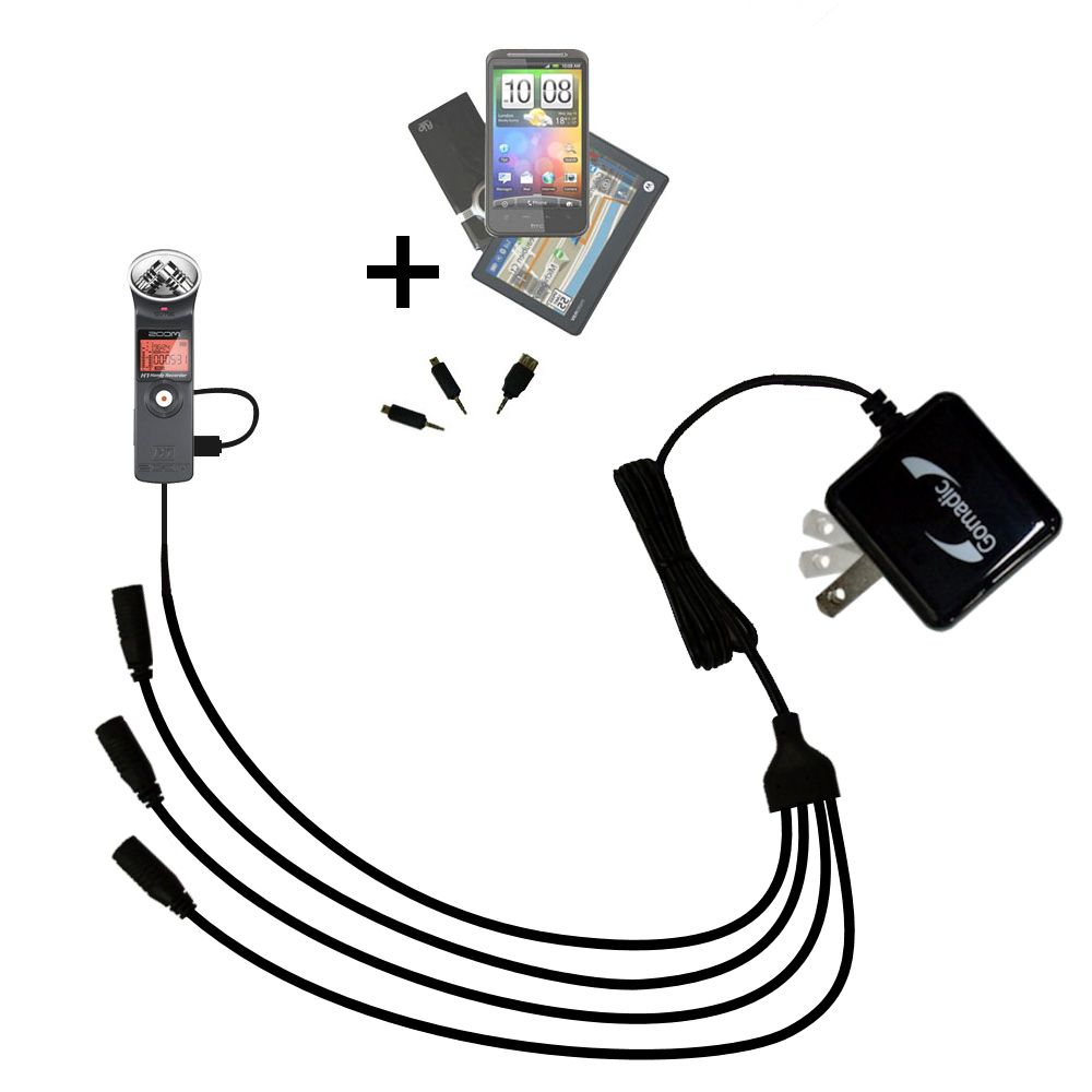 Quad output Wall Charger includes tip for the Zoom H1