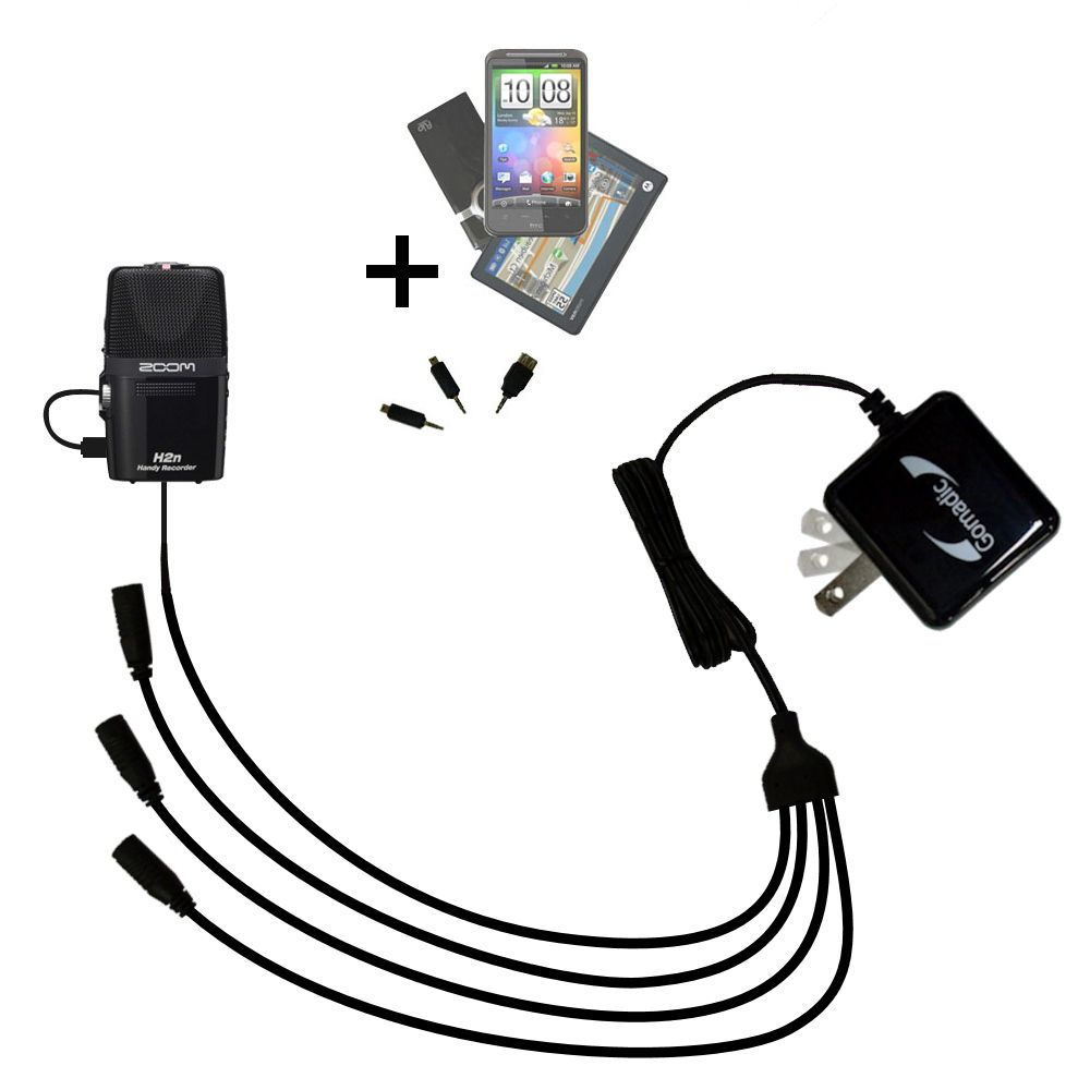 Quad output Wall Charger includes tip for the Zoom H2n