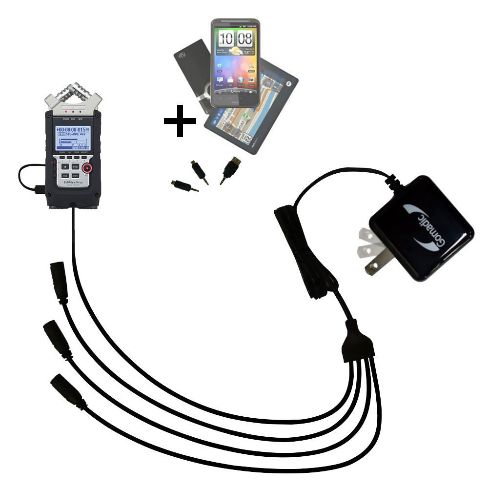 Quad output Wall Charger includes tip for the Zoom H4N Pro