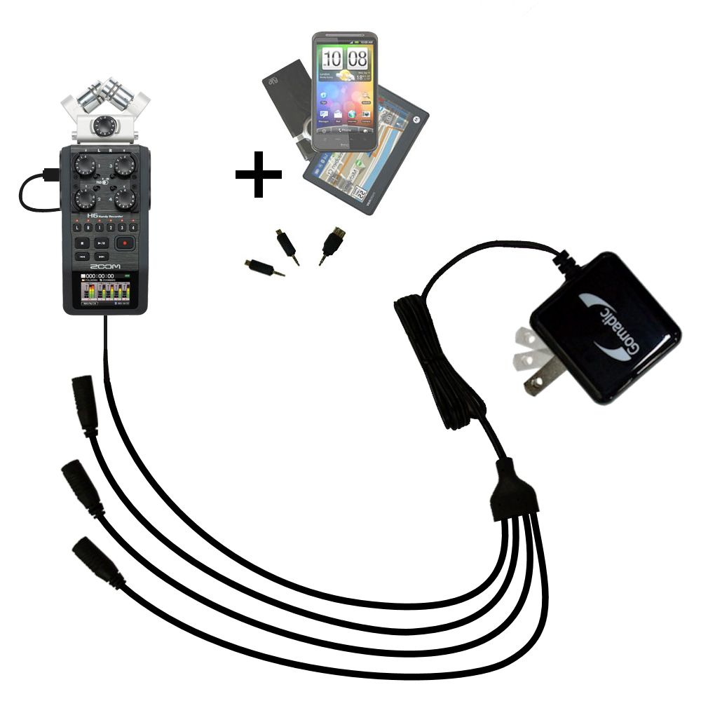 Quad output Wall Charger includes tip for the Zoom H6