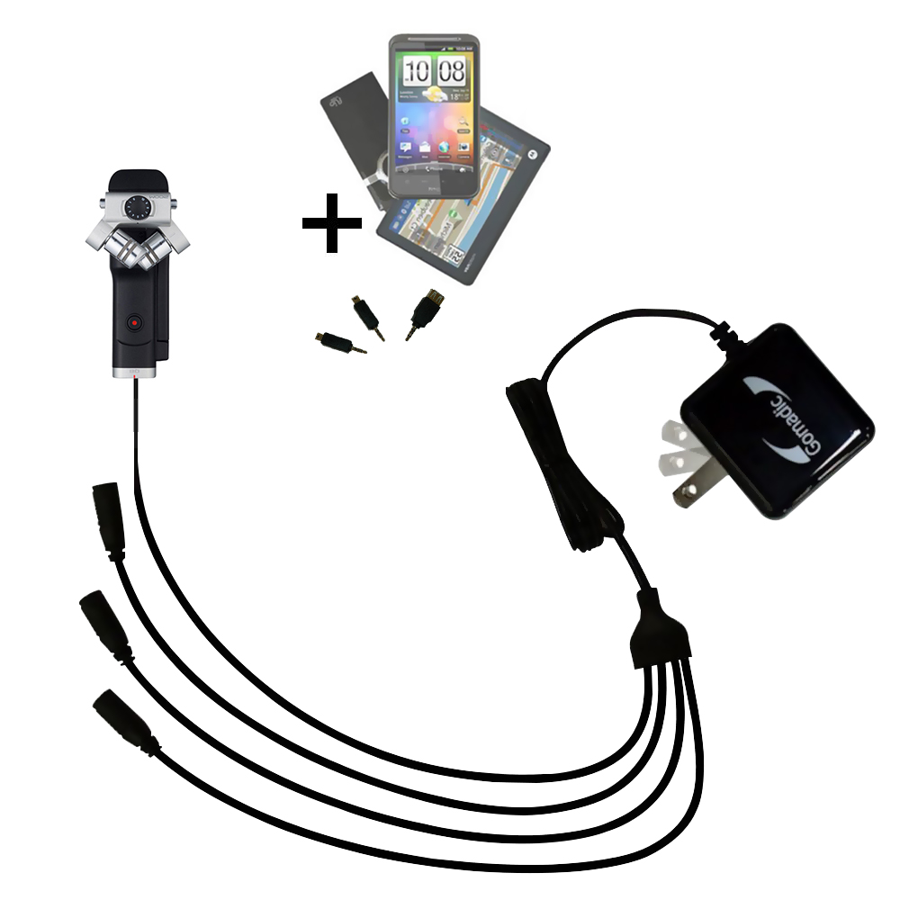 Quad output Wall Charger includes tip for the Zoom Q8 Handy Video Recorder