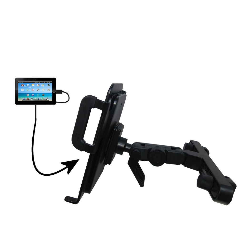 Headrest Holder compatible with the Sylvania SYTAB10ST 10 inch Magni Tablet