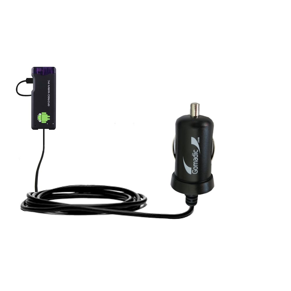 Gomadic Intelligent Compact Car / Auto DC Charger suitable for the Android MK802 MK808 Mini PC - 2A / 10W power at half the size. Uses Gomadic TipExchange Technology