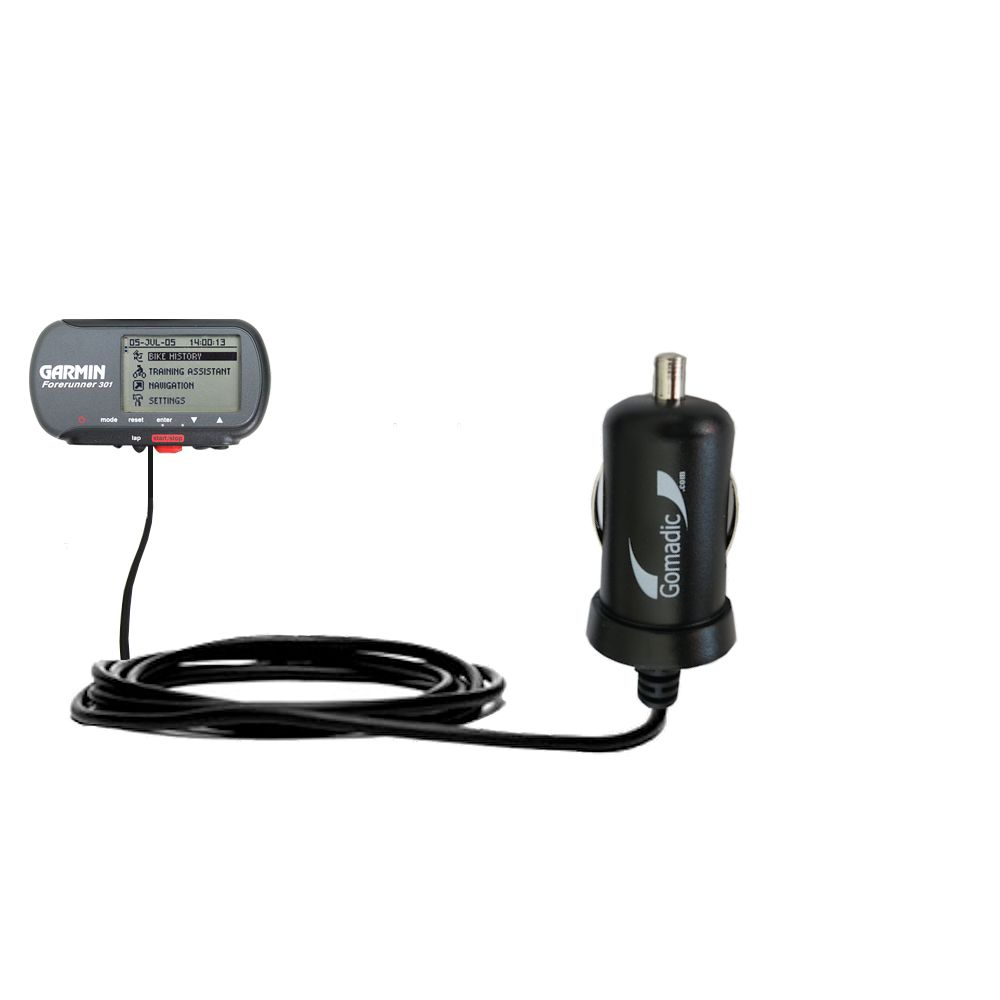 Mini Car Charger compatible with the Garmin Forerunner 301