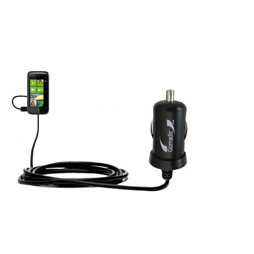 Gomadic Intelligent Compact Car / Auto DC Charger suitable for the HTC Eternity - 2A / 10W power at half the size. Uses Gomadic TipExchange Technology