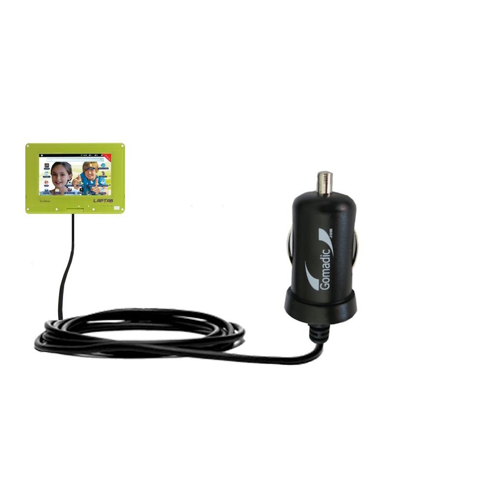Gomadic Intelligent Compact Car / Auto DC Charger suitable for the Lexibook Laptab MFC140EN - 2A / 10W power at half the size. Uses Gomadic TipExchange Technology