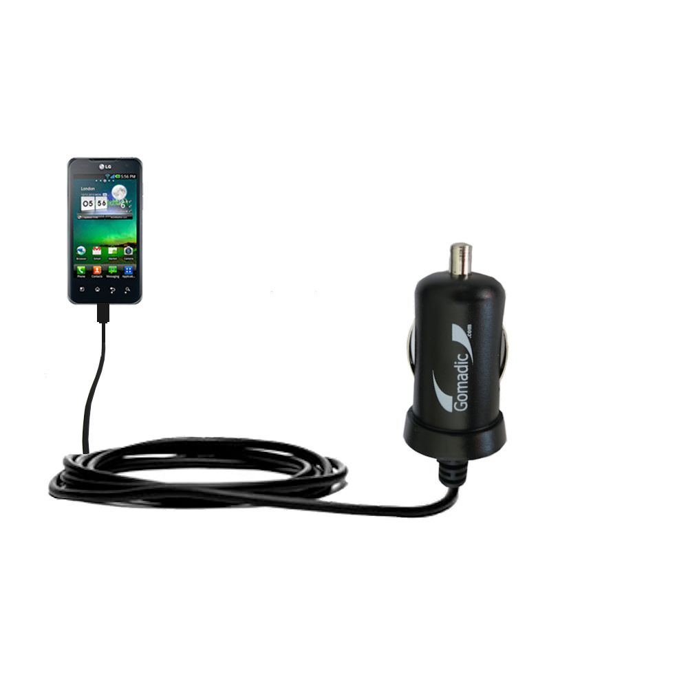 Mini Car Charger compatible with the LG Optimus 2X