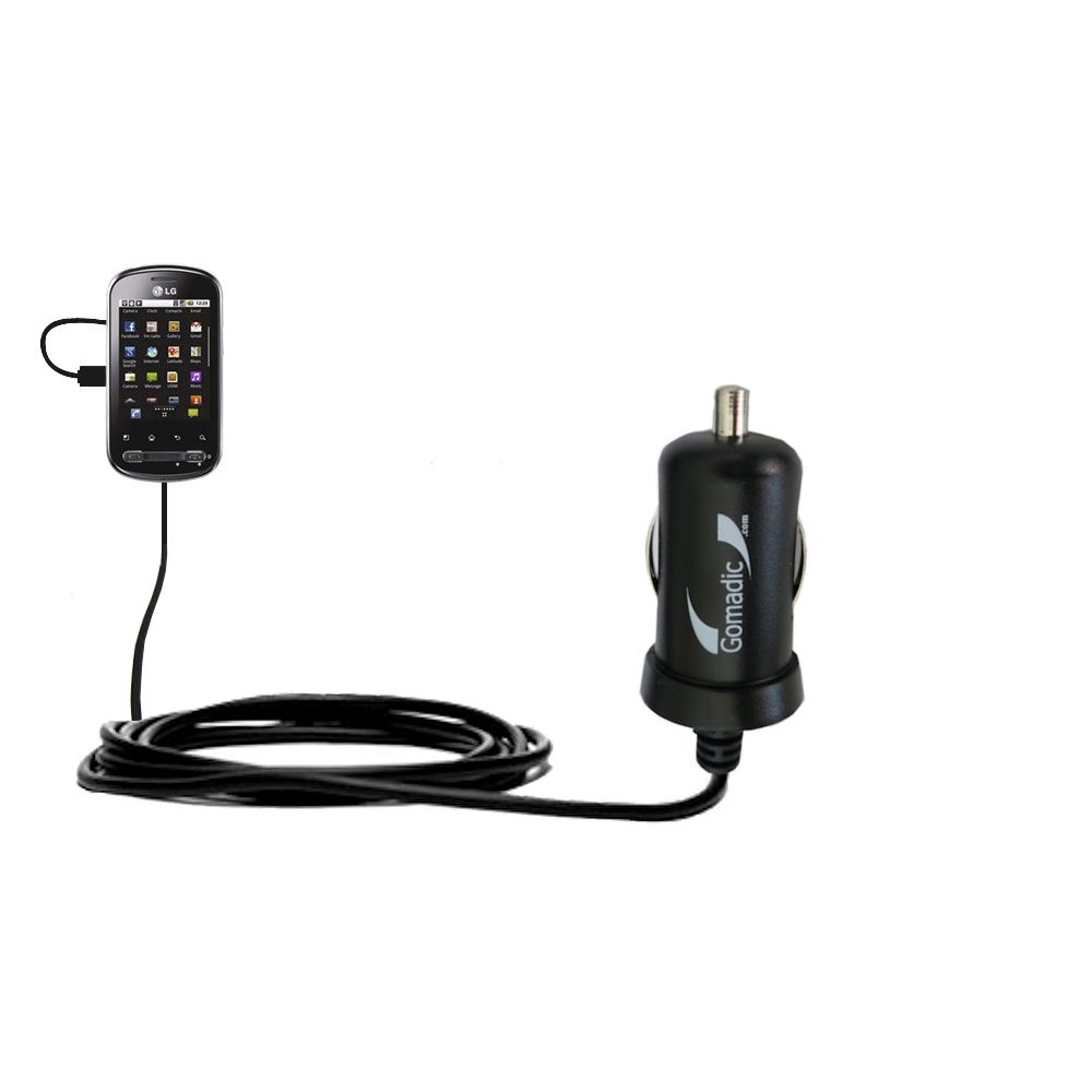 Mini Car Charger compatible with the LG Optimus Me P350
