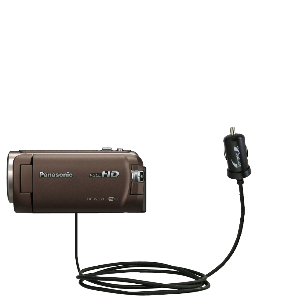 Mini Car Charger compatible with the Panasonic HC-W580
