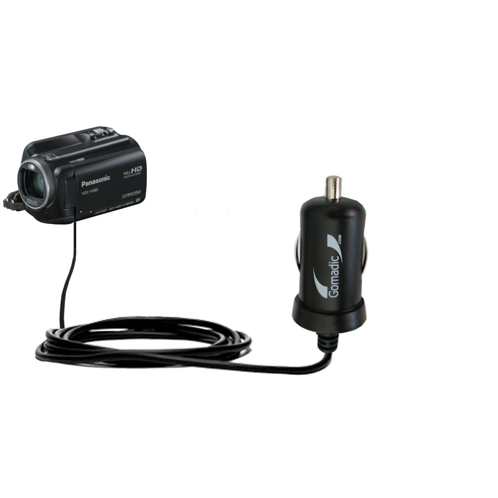 Mini Car Charger compatible with the Panasonic HDC-HS80 Camcorder