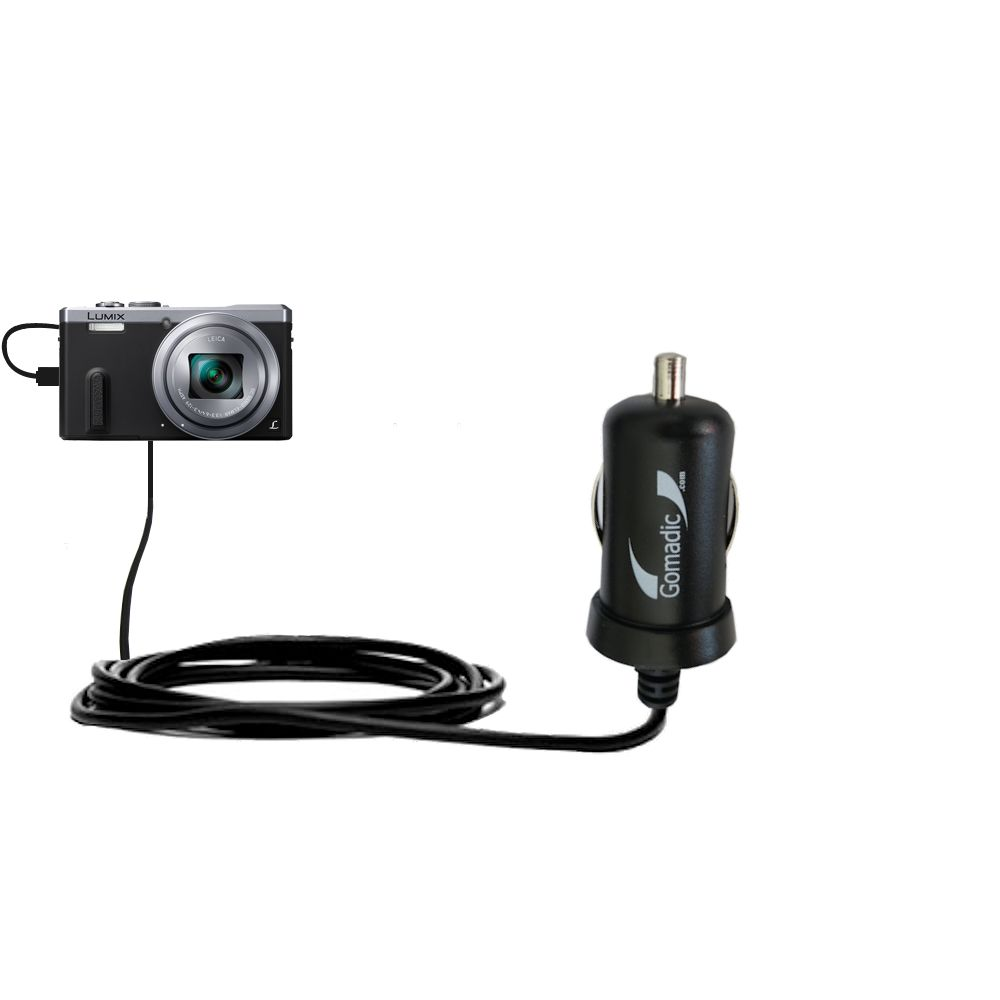 Mini Car Charger compatible with the Panasonic Lumix DMC-ZS40