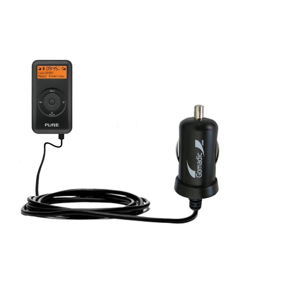Gomadic Intelligent Compact Car / Auto DC Charger suitable for the PURE Move 2500 - 2A / 10W power at half the size. Uses Gomadic TipExchange Technology