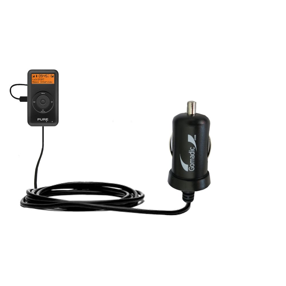 Gomadic Intelligent Compact Car / Auto DC Charger suitable for the PURE PocketDAB 1500 - 2A / 10W power at half the size. Uses Gomadic TipExchange Technology