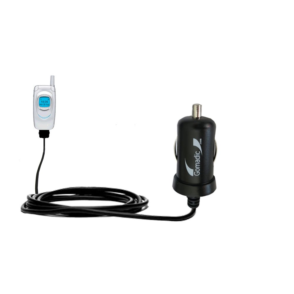 Gomadic Intelligent Compact Car / Auto DC Charger suitable for the Samsung SGH-A930 - 2A / 10W power at half the size. Uses Gomadic TipExchange Technology