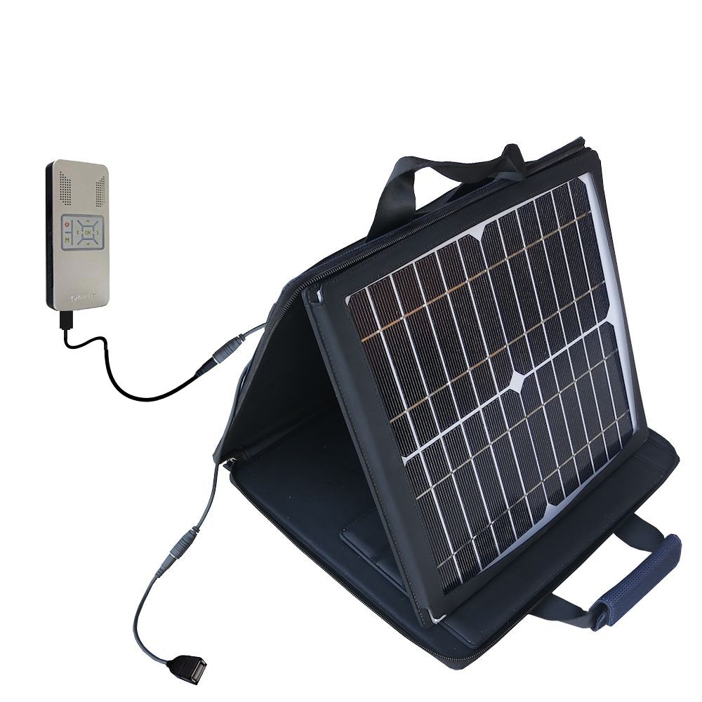 SunVolt Solar Charger compatible with the Aiptek PocketCinema v50 and one other device - charge from sun at wall outlet-like speed