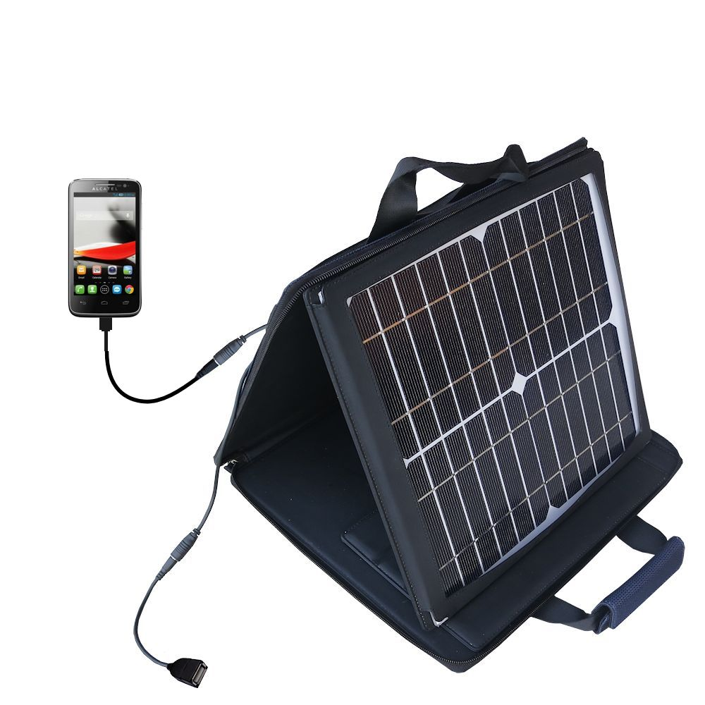 SunVolt Solar Charger compatible with the Alcatel One Touch Fierce and one other device - charge from sun at wall outlet-like speed