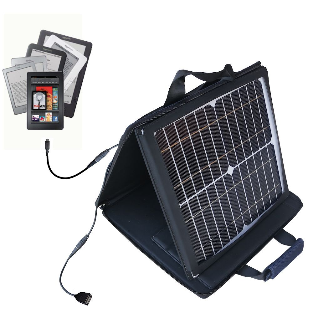 SunVolt Solar Charger compatible with the Amazon Kindle Fire HD / HDX / DX / Touch / Keyboard / WiFi / 3G and one other device - charge from sun at wall outlet-like speed