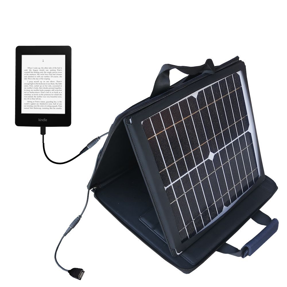 SunVolt Solar Charger compatible with the Amazon Kindle Paperwhite and one other device - charge from sun at wall outlet-like speed