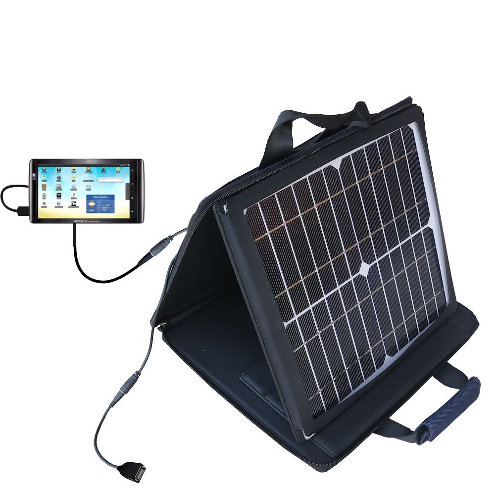 SunVolt Solar Charger compatible with the Archos 101 Internet Tablet and one other device - charge from sun at wall outlet-like speed