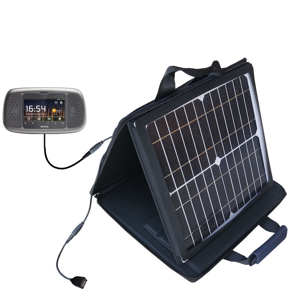 SunVolt Solar Charger compatible with the Archos 35 Home Connect and one other device - charge from sun at wall outlet-like speed