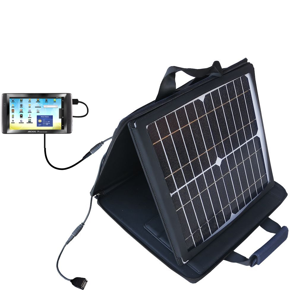 SunVolt Solar Charger compatible with the Archos 70 / 70b Titanium and one other device - charge from sun at wall outlet-like speed