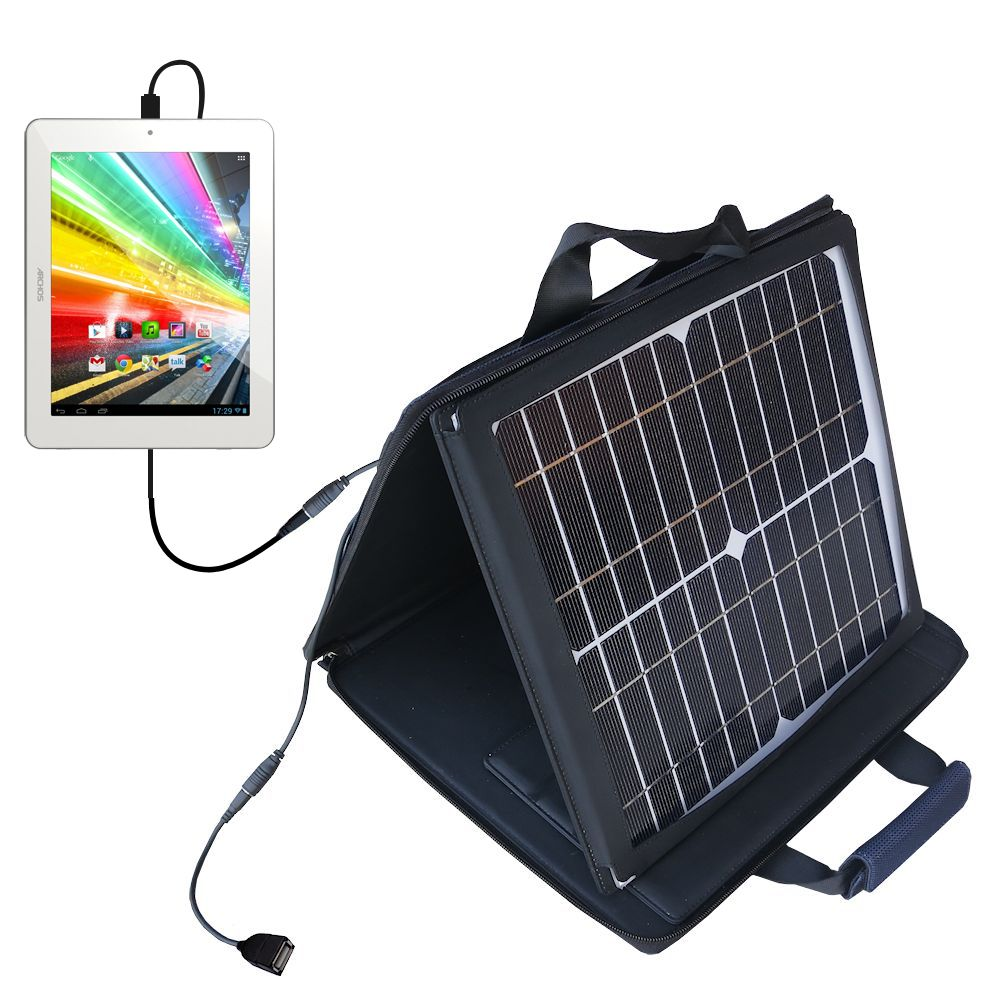 SunVolt Solar Charger compatible with the Archos 80b Platinum and one other device - charge from sun at wall outlet-like speed