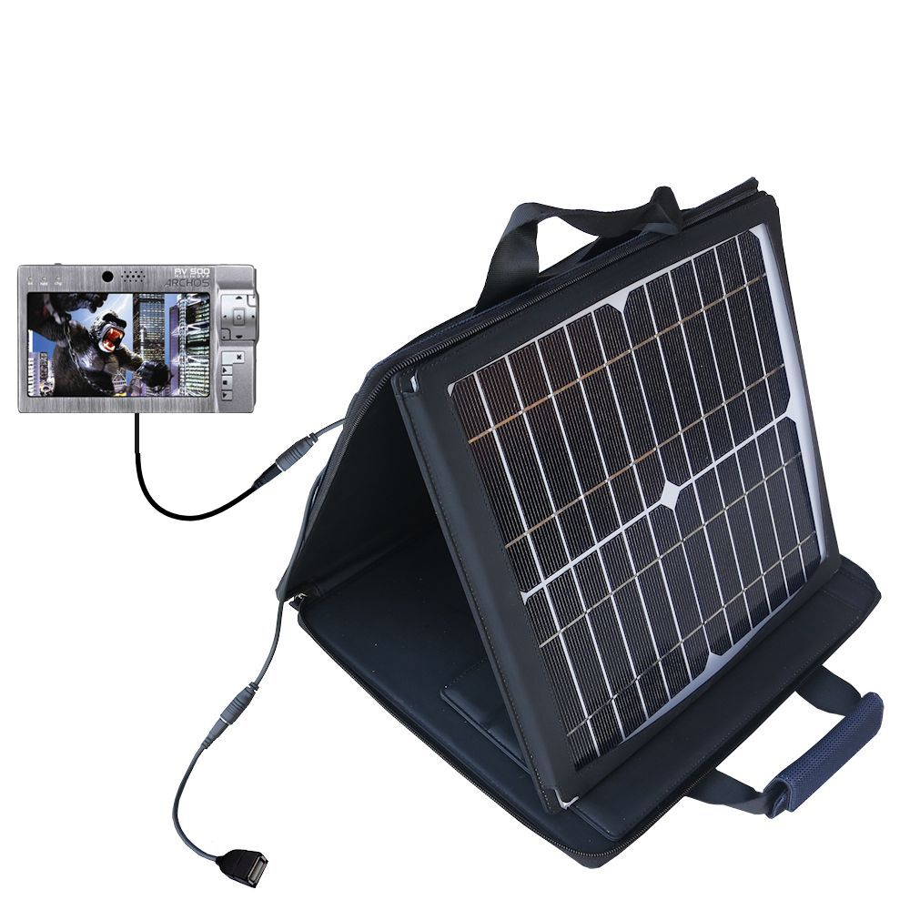 SunVolt Solar Charger compatible with the Archos AV500 Series and one other device - charge from sun at wall outlet-like speed