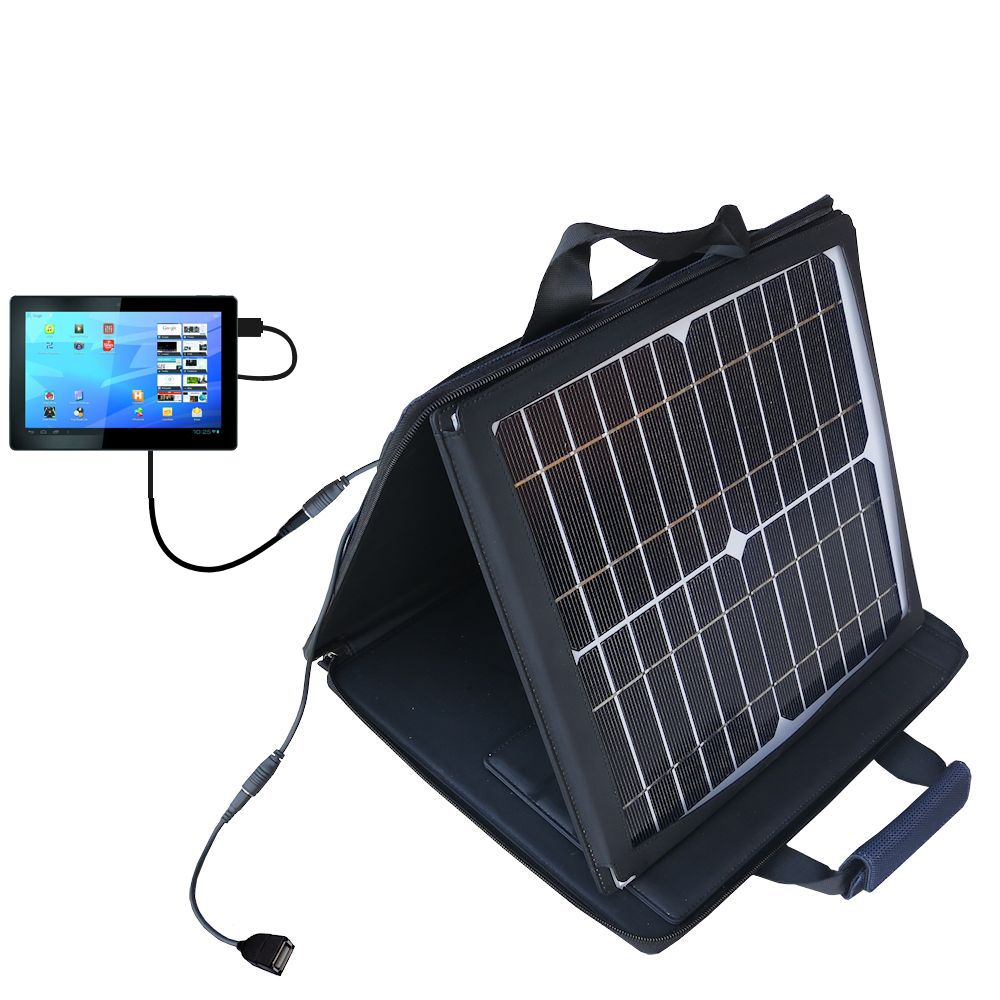 SunVolt Solar Charger compatible with the Archos Familypad 2 and one other device - charge from sun at wall outlet-like speed