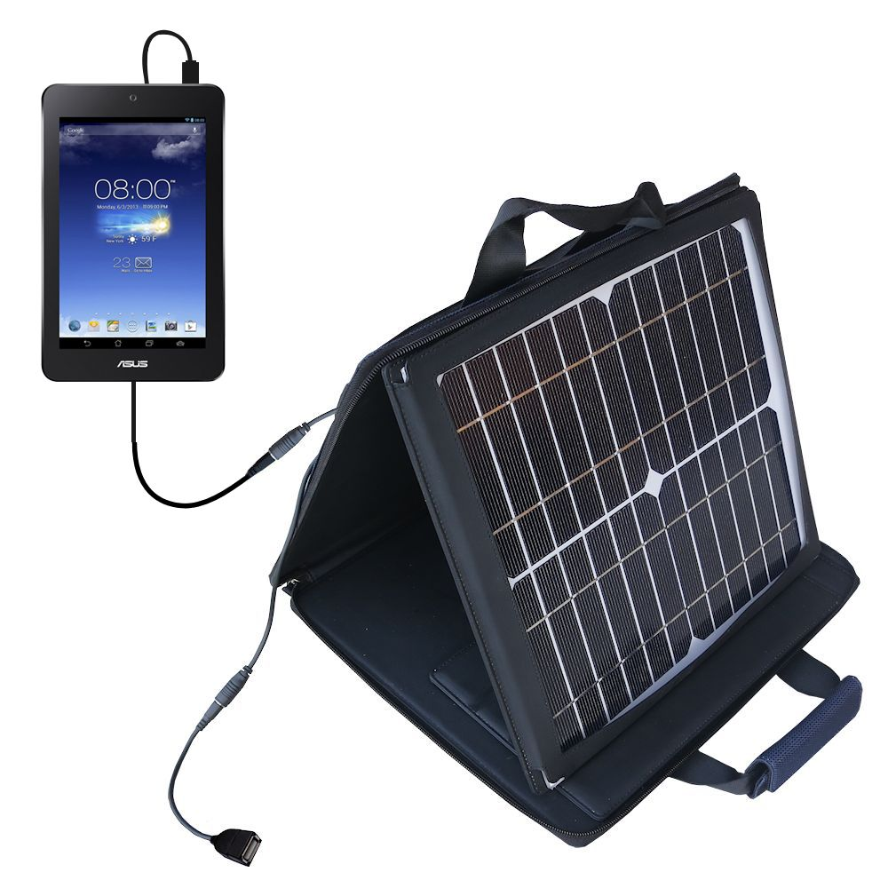 SunVolt Solar Charger compatible with the Asus MeMO Pad HD7 and one other device - charge from sun at wall outlet-like speed