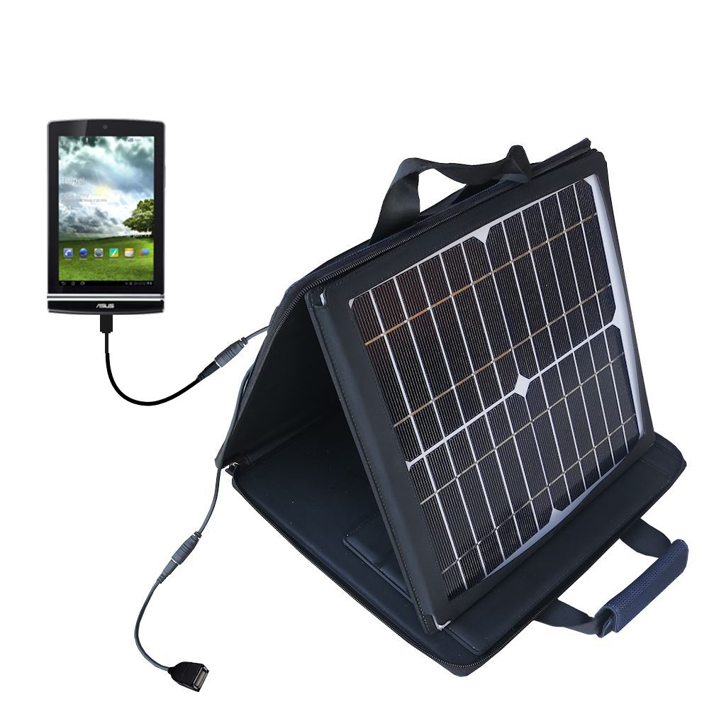 SunVolt Solar Charger compatible with the Asus MeMo Pad ME171V and one other device - charge from sun at wall outlet-like speed