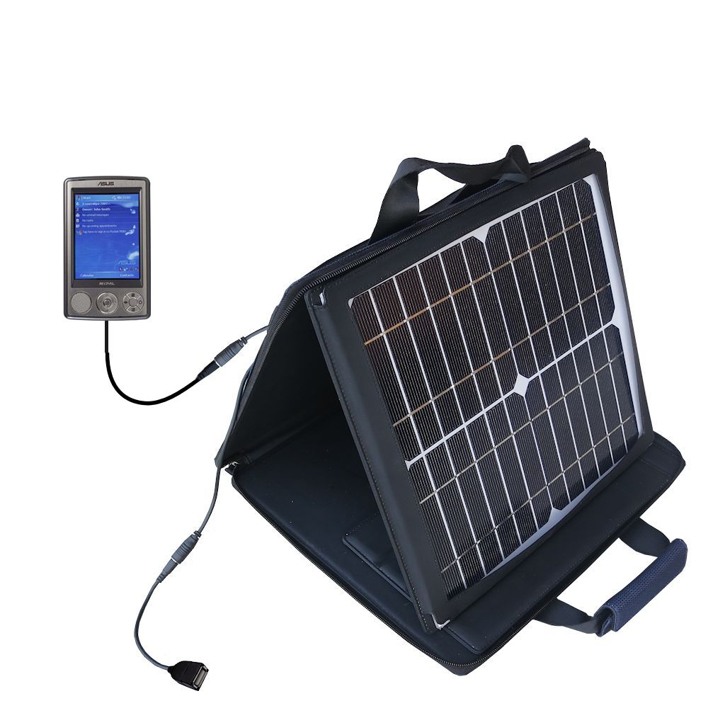 SunVolt Solar Charger compatible with the Asus MyPal A632 A636 and one other device - charge from sun at wall outlet-like speed