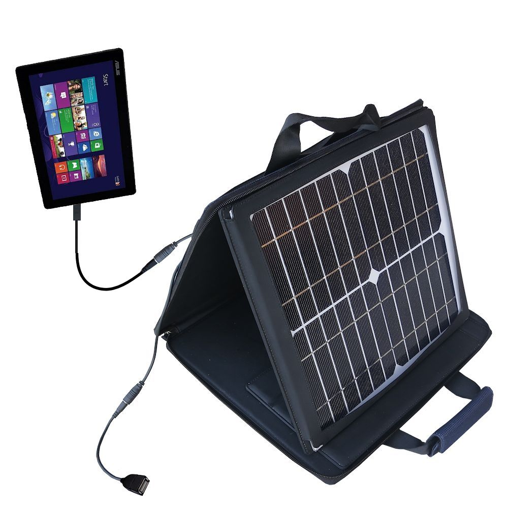 SunVolt Solar Charger compatible with the Asus Transformer T100 T100TA-H1-GR T100TA-C1-GR and one other device - charge from sun at wall outlet-like speed