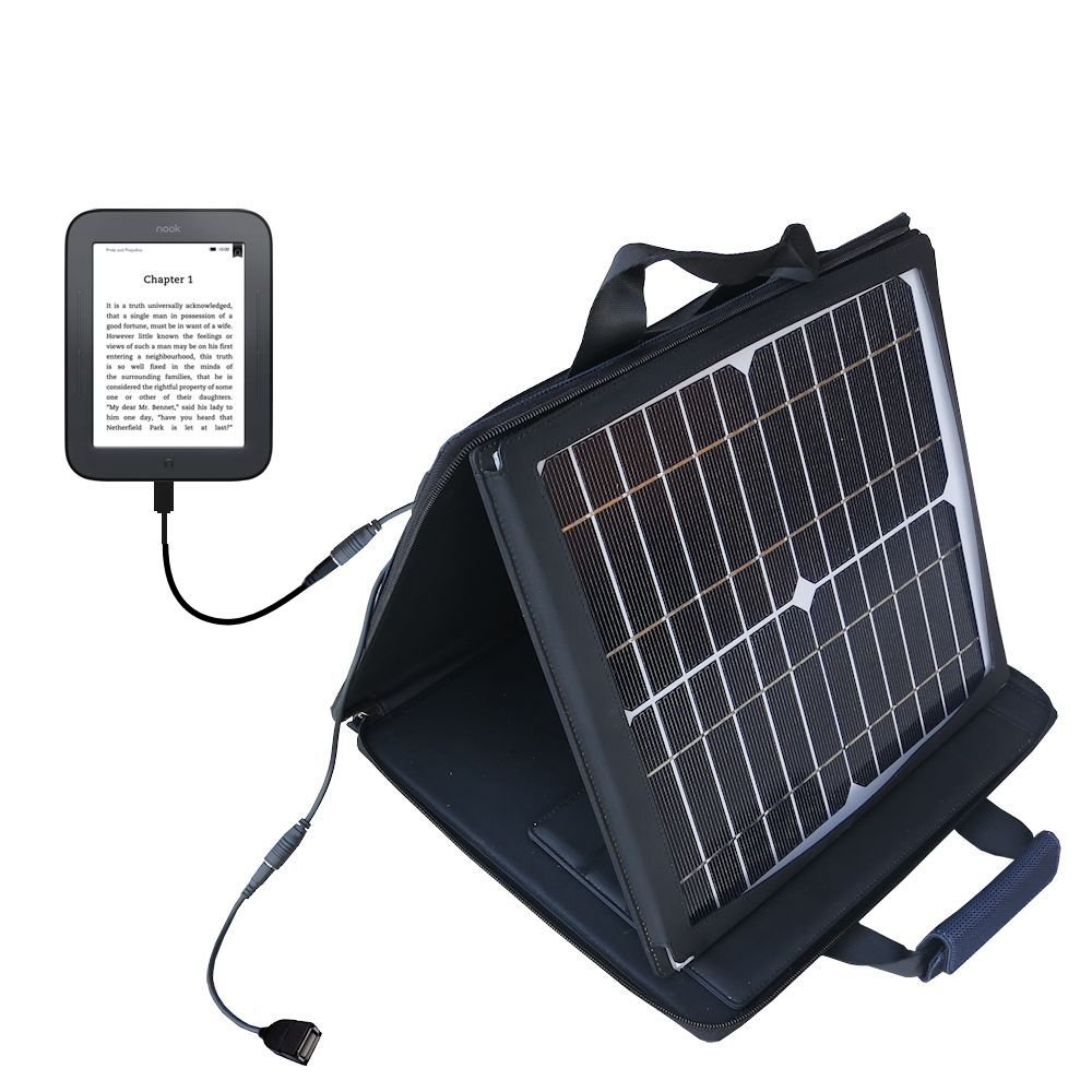 SunVolt Solar Charger compatible with the Barnes and Noble nook Original eBook eReader and one other device - charge from sun at wall outlet-like speed