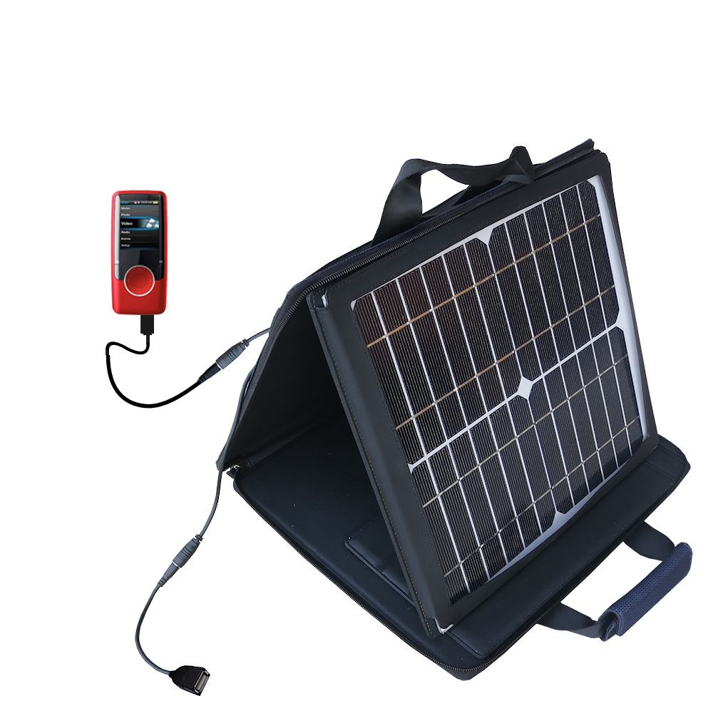 SunVolt Solar Charger compatible with the Coby MP620 Video MP3 Player and one other device - charge from sun at wall outlet-like speed