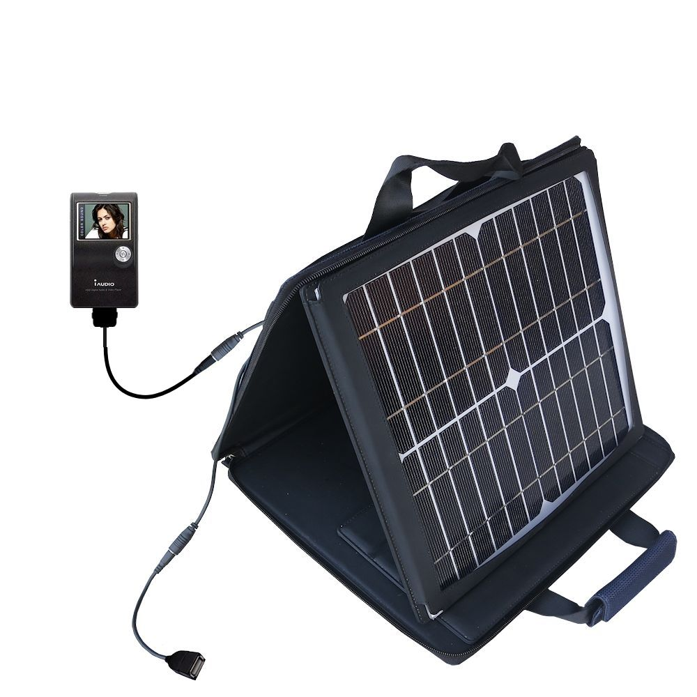 SunVolt Solar Charger compatible with the Cowon iAudio X5 and one other device - charge from sun at wall outlet-like speed